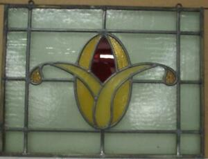 """OLD ENGLISH LEADED STAINED GLASS WINDOW Unframed w Hooks Floral 19.5"""" x 14.75"""""""