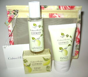 NWT Crabtree and Evelyn Cosmetic Bag w/ Citron Body Bar & Shower Gel & Lotion