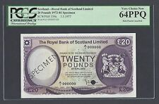 Scotland 20 Pounds 3-5-1977 P339s Specimen  Uncirculated