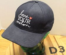 NWOT LOVE YOUR MELON HAT BLACK EMBROIDERED SCRIPT STRAPBACK USA MADE D3