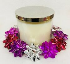 Bath Body Works PURPLE SILVER RED BOWS RING Large Candle Holder Sleeve 14.5 oz