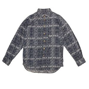 Beauty:Beast Shirt Blue Full Print Long Sleeved Jacquard Logo Button Up Size S