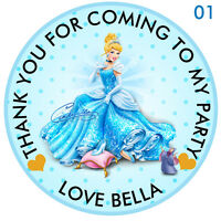 Personalised Disney Princess Cinderella Round  15 Stickers Party Thank You Seals