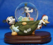 Vintage Mickey, Goofy & Donald Christmas Sack Musical Motion Snowglobe Disney