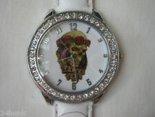 New Ladies Geneva Watch 2 Leather Band W/ Ed Hardy Canada Convertible Face Mask
