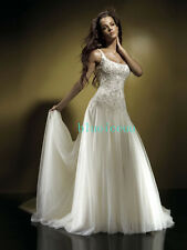 white/Ivory Top Satin wedding dresses bridal Gown custom size 6,8,10,12,14,16