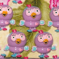 6 x Hootabelle Owl Giggle and Hoot Kids Resin Kids Party Cake Toppers FlatBacks