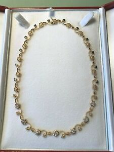 Vintage Ladies Diamond Pendant Necklace 14K Yellow Gold - 29.6 G / 1.5 CTW