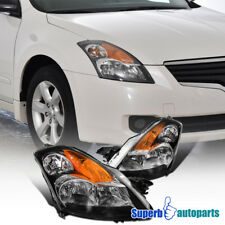 For 2007-2009 Nissan Altima 4DR Black Clear Crystal Headlights Pair