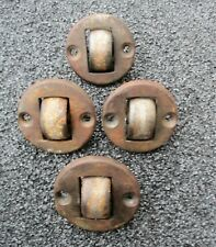 Lot of 4 Cat Iron Antique Heavy Duty Countersunk Industrial Casters Wheels