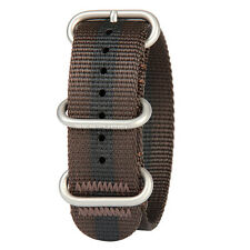 New Bertucci Men's Stainless Buckle Brown/Black Stripe Nylon Watch Band B-164