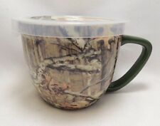 Mossy Oak Camouflage Microwave Soup Coffee Mug Bowl 16 oz Ceramic Steam Lid New