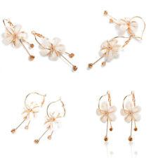 Women Rose Flower Pink Resin Crystal Rhinestone Earrings Ear Stud Dangle Jewelry