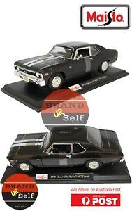 Maisto 1970 Chevrolet Nova SS Coupe Black 1:18 Diecast Model Car