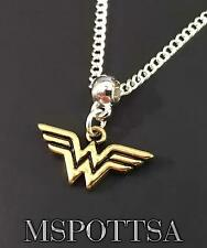 Wonder Woman Silver Chain Necklace Pendant Cosplay Fandom Superheroes Comics