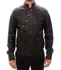 NWT $2200 KARL LAGERFELD Black Leather Jacket Coat Giacca Italy EU48 / US38 / M