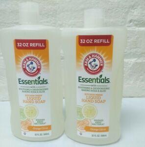 2 Arm & Hammer Essentials Kitchen Fresh Orange Citrus Liquid Hand Soap 32Oz Read