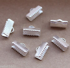 20 pcs Ribbon Necklace Cord Crimp Ends Over Clip Clamps Tips Beads Cap 13mm