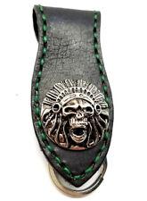 Biker Skull Indian Trucker Green Stitch Leather Belt Clip Keychain Key Holder