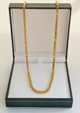 "SQUARE BYZANTINE GOLD NECKLACE 23.5"" chain long 9ct 375 2.5mm wide link 22g"