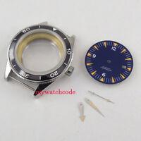 41mm no logo luminous blue dial + hand + Watch Case fit ETA 2824 2836 MOVEMENT