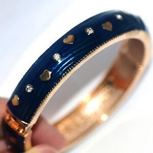 Blue Womens Heart Vintage Cuff Bangle Bracelet Gold Bracelets Fashion Jewelry