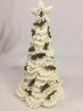 "OAK Vintage Hand Crochet 15"" White Christmas Tree Unique"