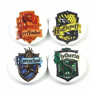 Set of 4 Harry Potter Hogwarts House Coat of Arms - Button Badge - 25mm 1 inch