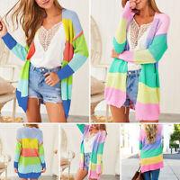 UK Women Long Sleeve Casual Knitted Sweater Jumper Cardigan Knitwear Outwear Top