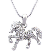 Clear Stone Pave Smal Horse Mustang Pony Stallion Charm Pendant Necklace