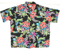 Reyn Spooner Hawaiian Traditionals Rayon Hawaiian Shirt XL Black Floral c.2000s