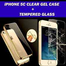 For Apple iPhone 5C Clear Gel Case And Tempered Glass Screen Protector