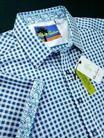 Robert Graham Gingham Check Short Sleeve Floral Masterpiece Shirt $178 Blue
