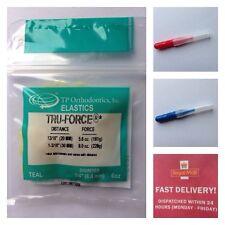 T P Orthodontic Bands Tru-Force Elastic Teal.+ 2 Interdental Brushes Free UK