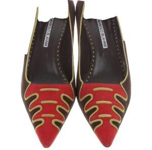 NWOB Manolo Blahnik Printed Suede Pumps Brown Red Green Heels Size 40 US 10