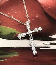 Crystal Cross Necklace 925 Sterling Silver Plated Pendant Jesus Chain Bohemian