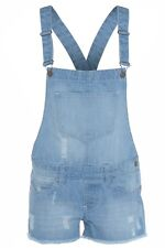 Womens Ladies Light Wash Denim Jean Shorts Dress Jumpsuit PlaySuit Dungaree 8-18