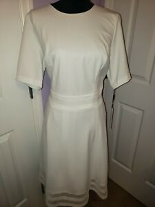 Calvin Klein Women's Short Sleeve Illusion Crepe Fit & Flare Dress! NWT Size 14W