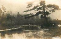 1912 Prattsburg New York River View RPPC Real Photo Postcard 1885