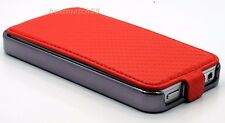 for iPhone 4 4s cell phone carbon fiber flip case cove 3 in 1 red pink white/