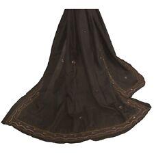 Tcw Vintage Dupatta Long Stole Pure Silk Black Hijab Hand Beaded Wrap Veil