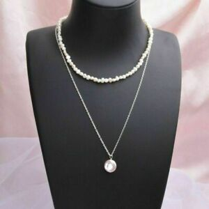 Baroque Natural Freshwater Pearl 925 Silver Choker Necklace Summer Fashion 2020