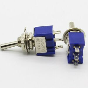 50x 6mm ON-OFF-ON 3 Pin 3 Position Mini Latching Toggle Switch 6A/125V 3A/250VAC