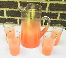Vintage 5 Piece Blendo Orange/Clear Frosted Ice Tea Pitcher & Glasses Drink Set