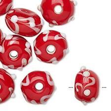 2737 Glass Rondelle Beads Red White 13mm Pack of 10 *UK EBAY SHOP*