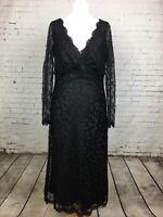 RONIT ZILKHA Women's Beautiful Black Long Sleeve Lace Beaded Dress Size 10
