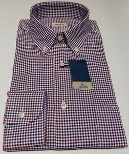 Camicia Aramis Cotone Quadretti Rosso-Blu Collo Button-Down Regular Fit