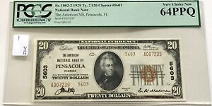 PENSACOLA, FL $20 1929 TY 2 THE AMERICAN NB CH #5603 PCGS VERY CHOICE NEW 64 PPQ