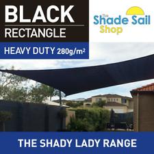 Rectangle BLACK 2m x 4 m Shade Sail Sun Heavy Duty 280GSM Outdoor Blk 2 x 4 m