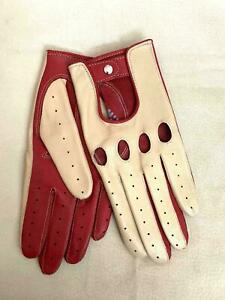 Women's Handmade Driving Real Napa Leather Lambskin Gloves Red & Beige